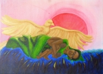 Margaret Mair, Prayer for Jamaica (version 3), Acrylic painting on canvas, Original art