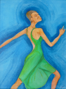 Margaret Mair, Dancer in Green, Original Art