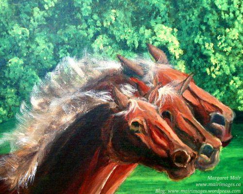 Three Running Hard, Margaret Mair, original art